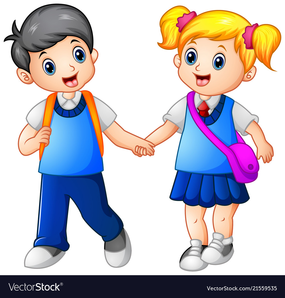 Cartoon girl and boy go to school together.