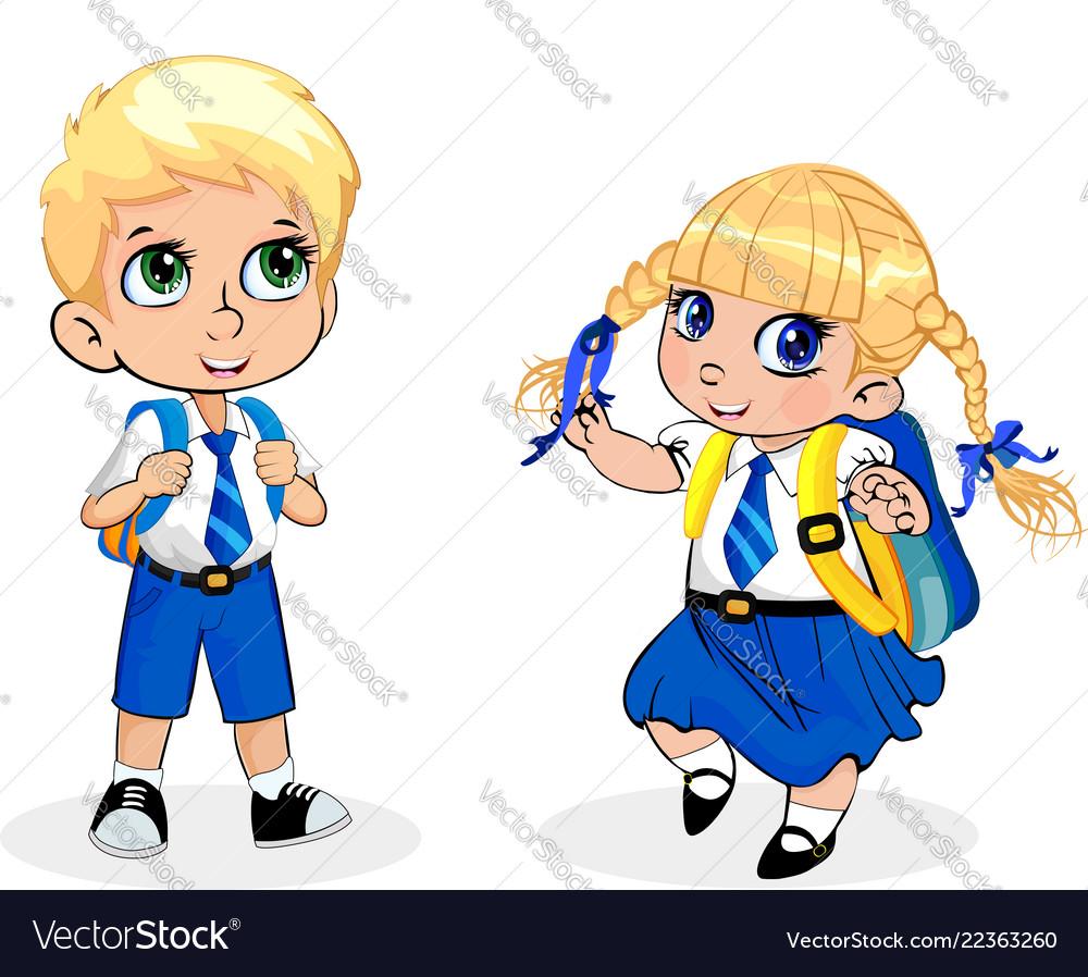 Cartoon school girl and boy wearing uniform with.