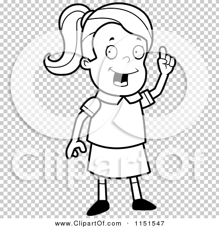 Cartoon Clipart Of A Black And White Smart School Girl with an.