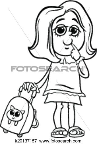 Clip Art of grade school girl coloring page k20137157.