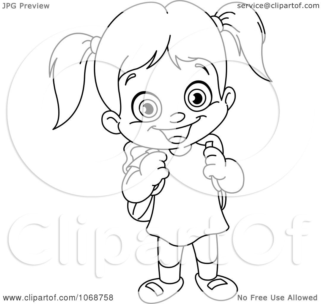 Clipart Outlined School Girl.