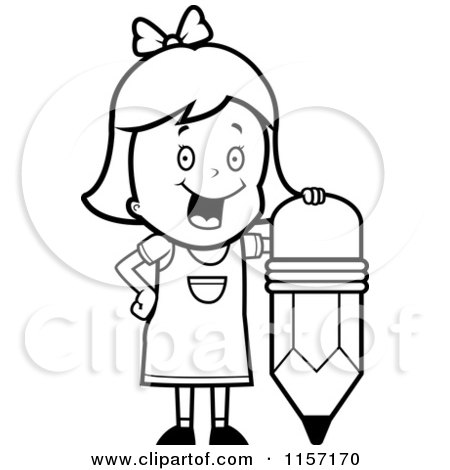 Cartoon Clipart Of A Black And White Smart School Girl with ABCs.