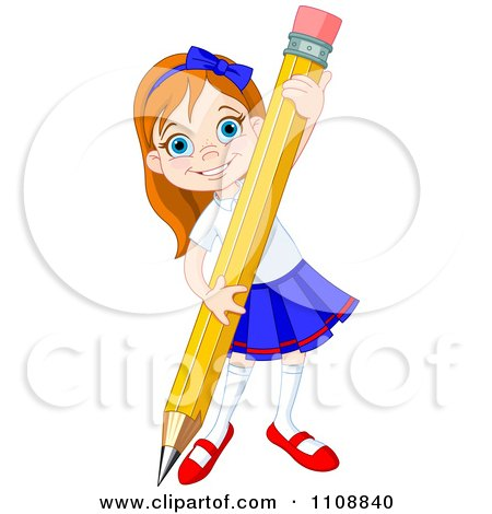 Clipart of a Happy Caucasian School Girl.