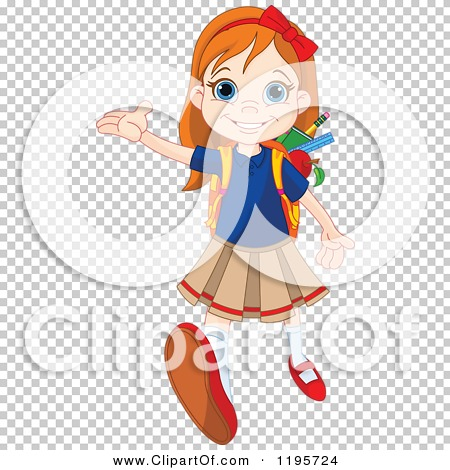 Cartoon of a Happy Red Haired School Girl Holding up a Hand and.