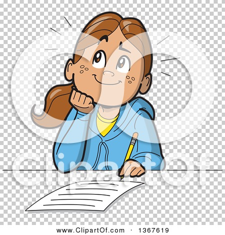 Clipart of a Cartoon Happy School Girl Resting Her Chin on Her.