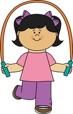 Free School Girl Jumping Rope Clipart Siloette.