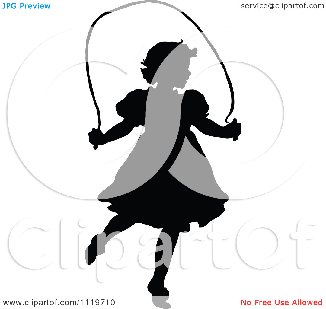 Free School Girl Jumping Rope Clipart.