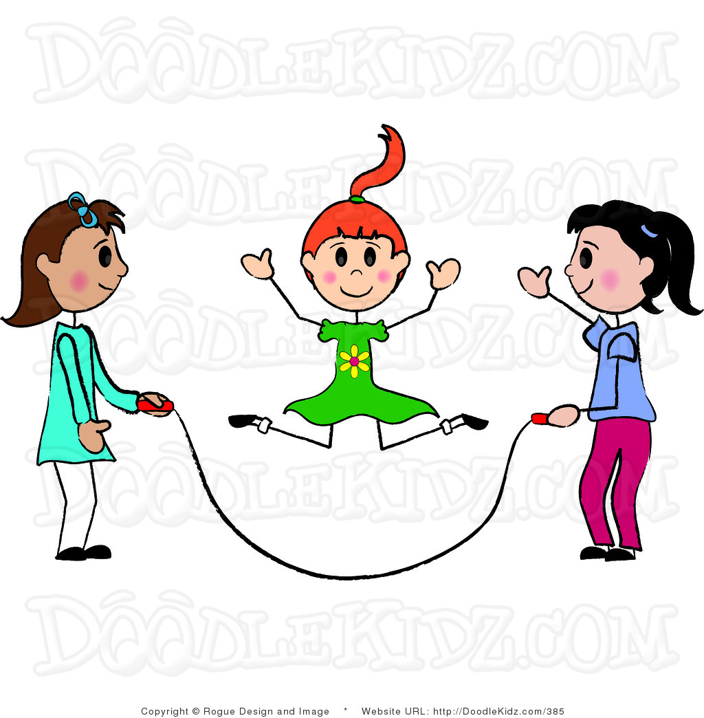 School Girl Jumping Rope Clipart.