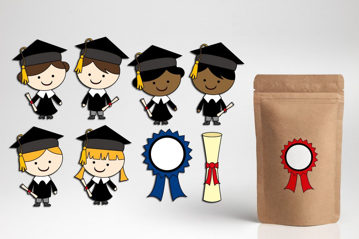 Graduation clipart / school graduate boys girls graphics.