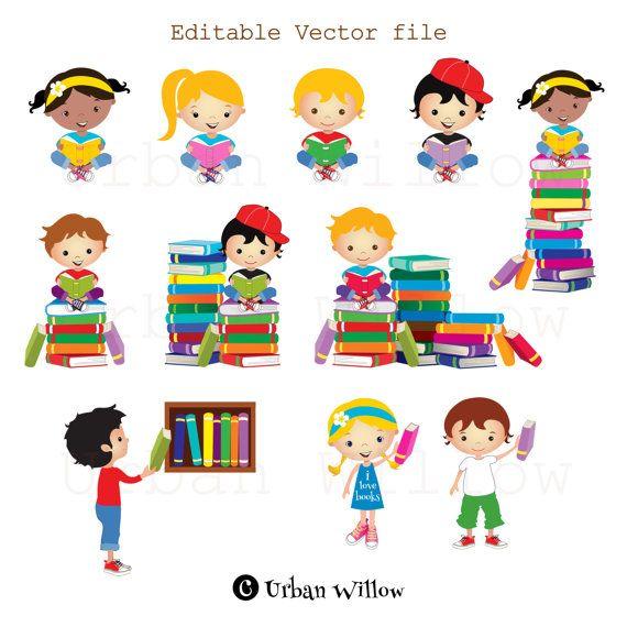 Clip art kids reading books, Graphics school kid, Cute.