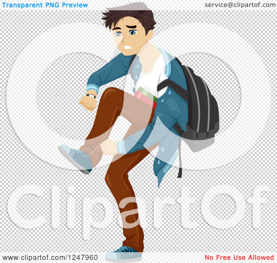 Clipart of a Teenage Guy Running Late to School.