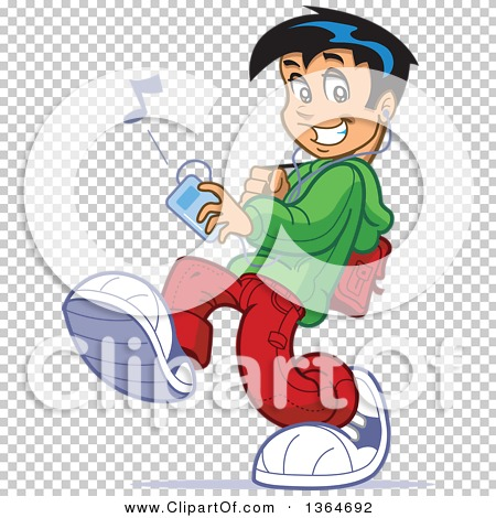Clipart of a Cartoon Teenage School Guy Walking and Listenting to.