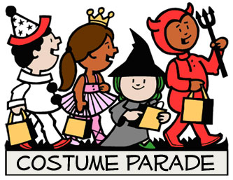 School Halloween Costume Parade Clipart.