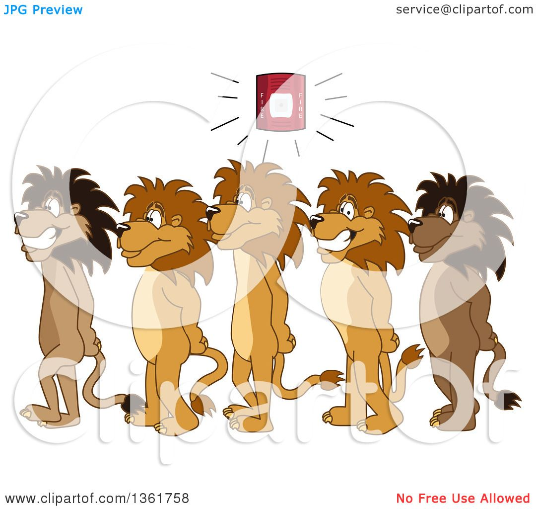 Clipart of Lion School Mascot Characters in Line During a Fire.