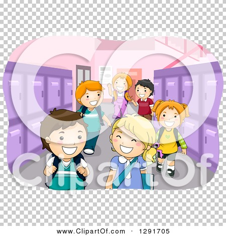 Clipart of a School Hallway with Happy Children and Purple Lockers.