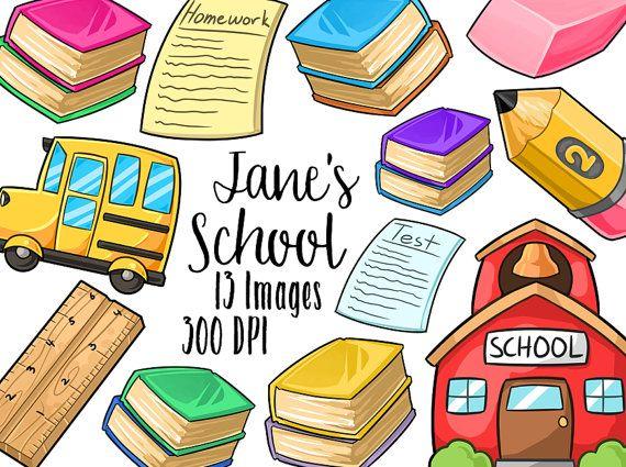 Kawaii School Supplies Clipart.