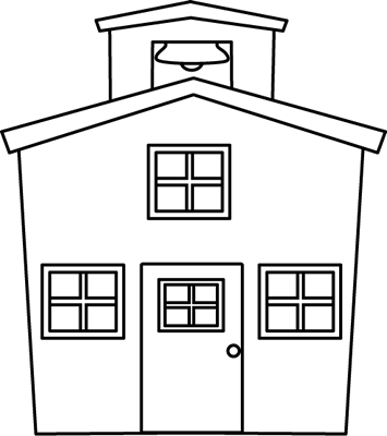 Black and White Schoolhouse Clip Art.