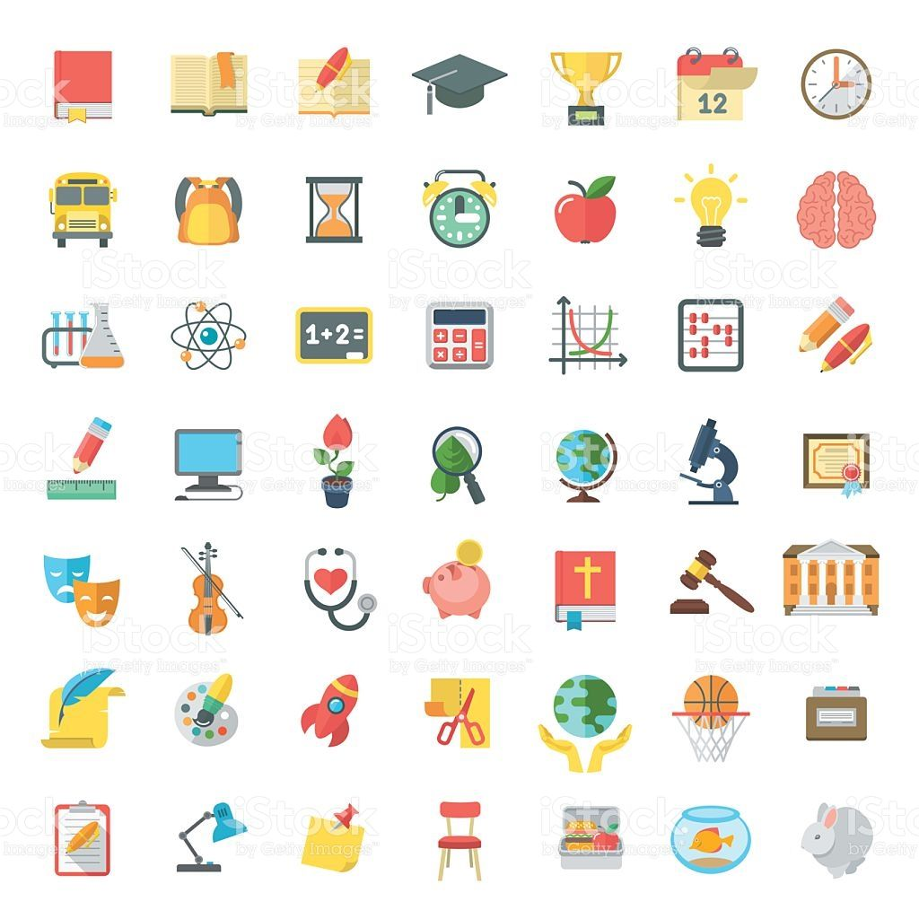 Set of modern flat vector icons of school subjects.