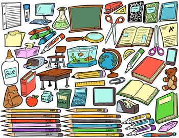 School Supplies Clip Art Bundle Pack.