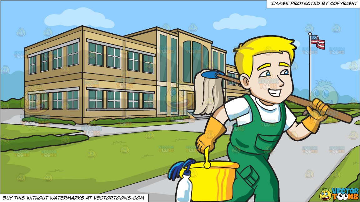 A Janitor On His Way To Clean A Floor and A Small Town High School  Background.