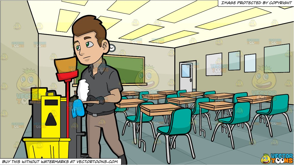 A Janitor Pushing His Cleaning Trolley and Inside A High School Classroom  Background.
