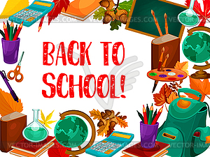 Back to School lesson stationery poster.