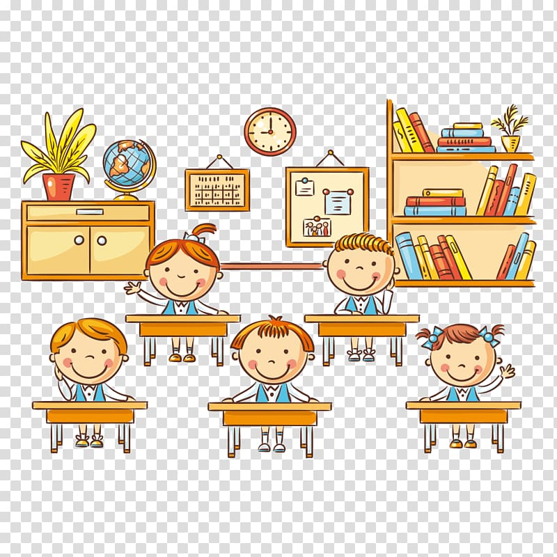 Children in classroom illustration, Student Cartoon.