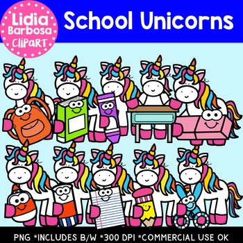 School Unicorns: Digital Clipart.