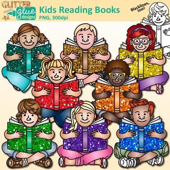 Kids Reading Books Clip Art: School Library Graphics {Glitter Meets Glue}.