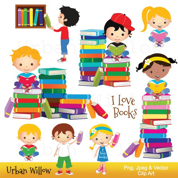 Clip art school kids, Clip art Books, Reading Clipart, Cute.