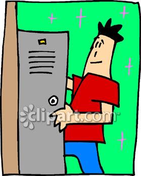 A Teenage Boy Getting Into His School Locker.