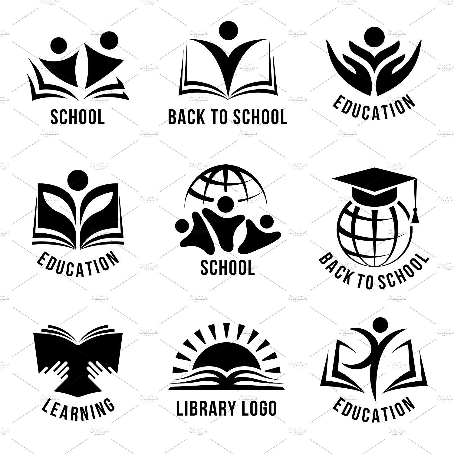 Set of black and white school logos by VectorPot on.
