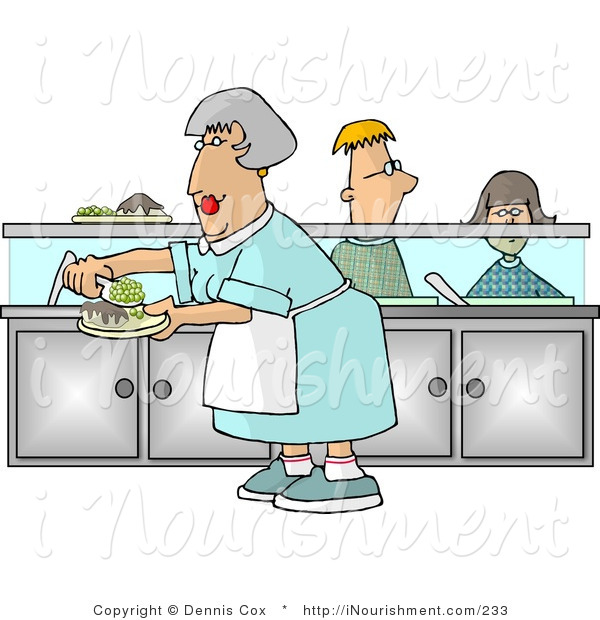 Clipart of a Cafeteria Lady Preparing Plates of Food for School.