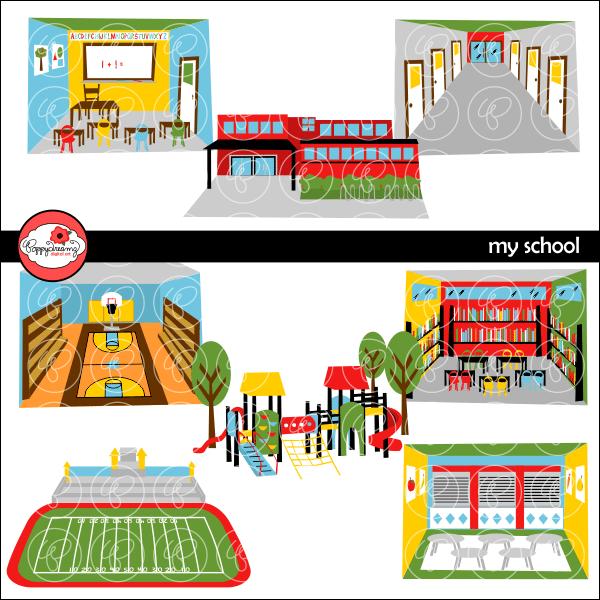 My School Clipart by Poppydreamz.