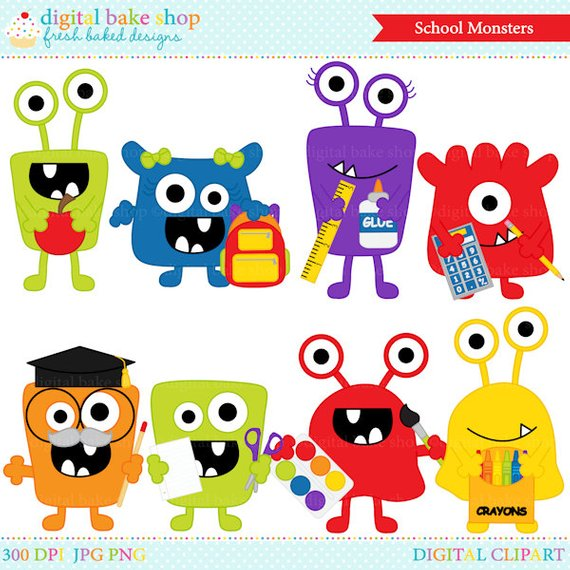 school clip art clipart monsters aliens digital.