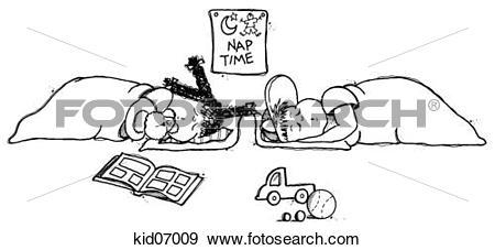 Stock Illustration of Illustration of children sleeping during nap.