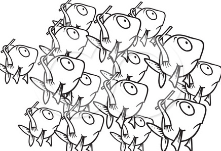 School Of Fish Clipart Black And White.