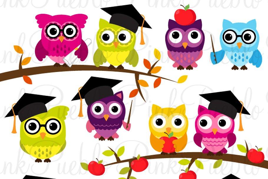 Back to School Owl Clipart & Vectors.