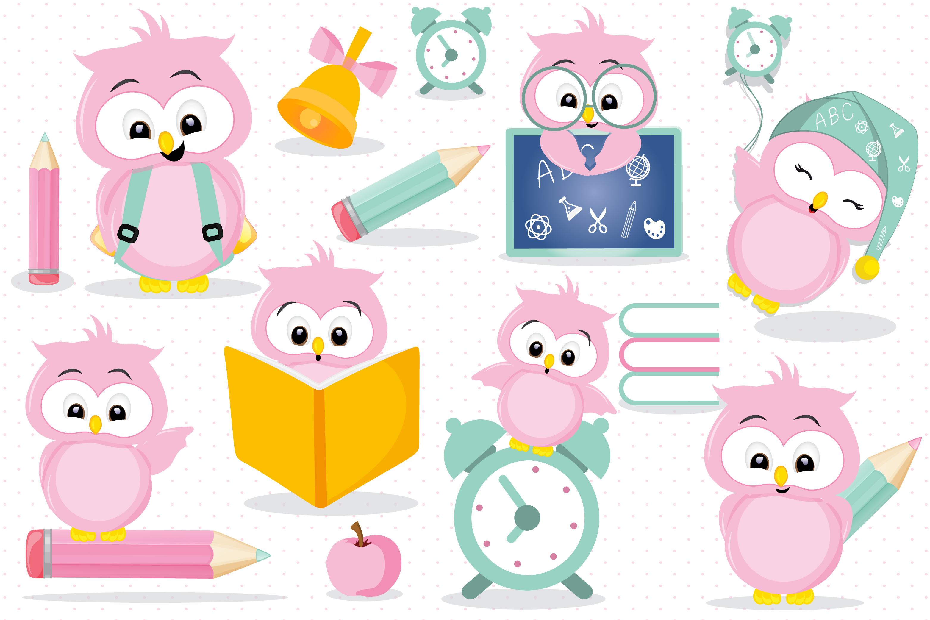 School owl clipart, School owl graphics.