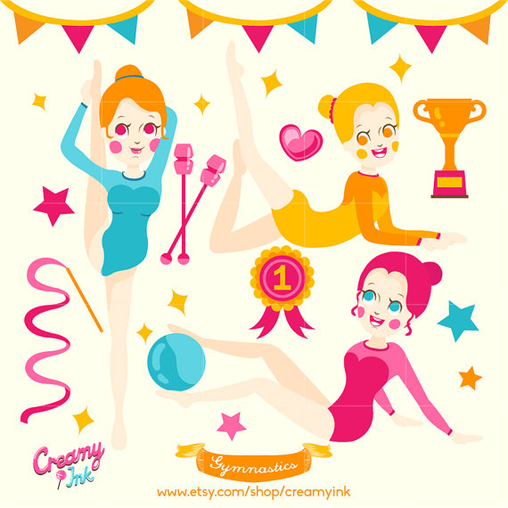Gymnastics Digital Vector Clip art / Girls Party Clipart Design.