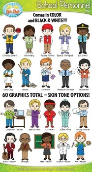 School Personnel Characters Clip Art Bundle by Zip.