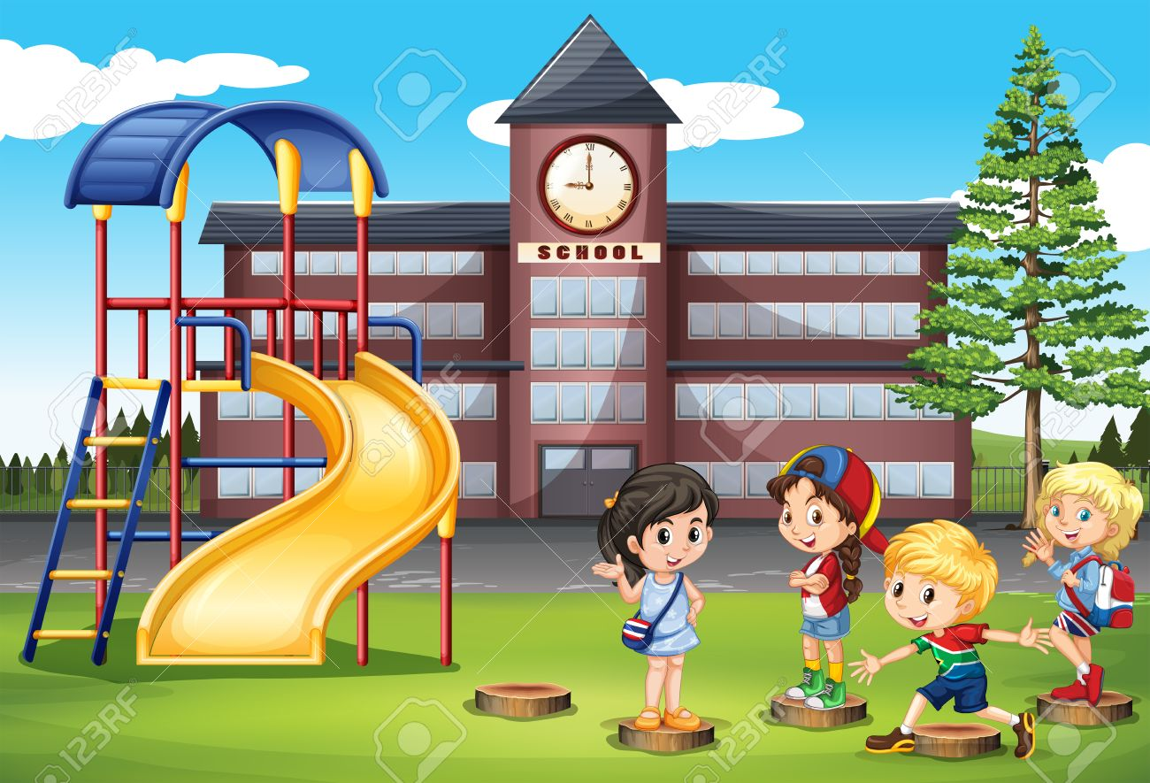 Children playing at school playground » Clipart Station.