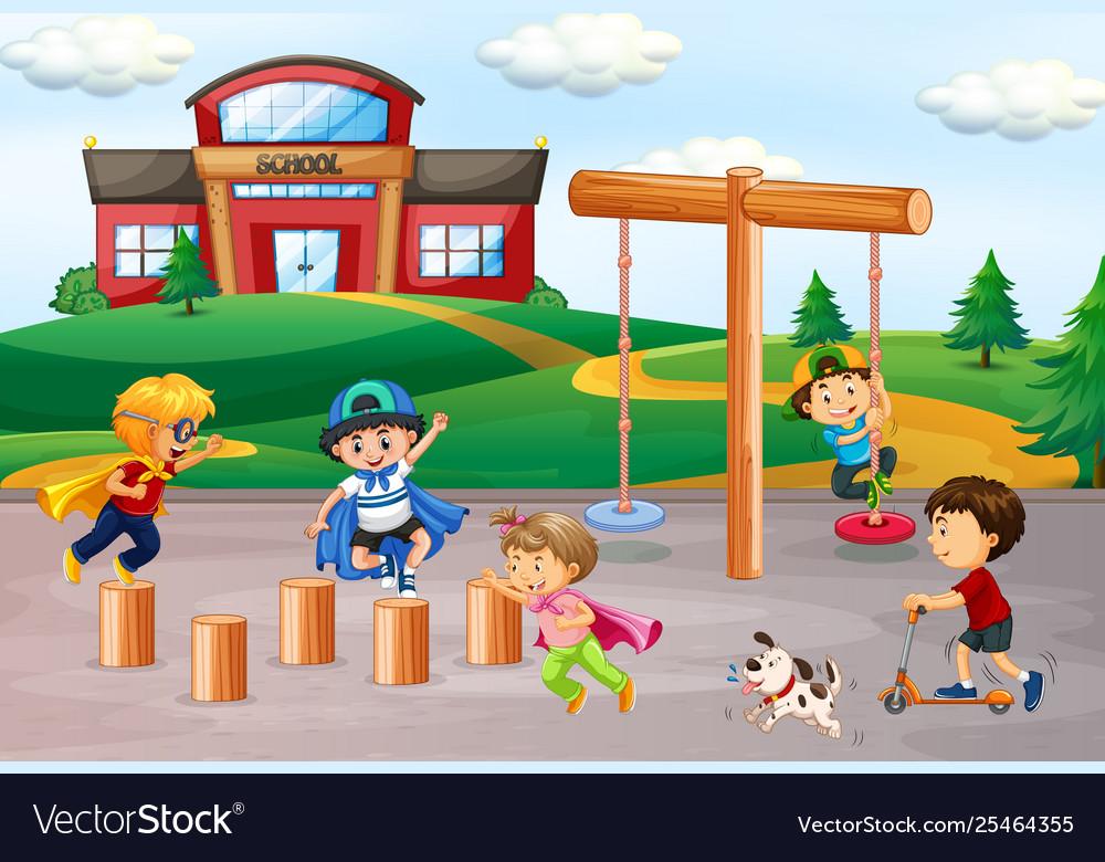 Children playing at school playground.
