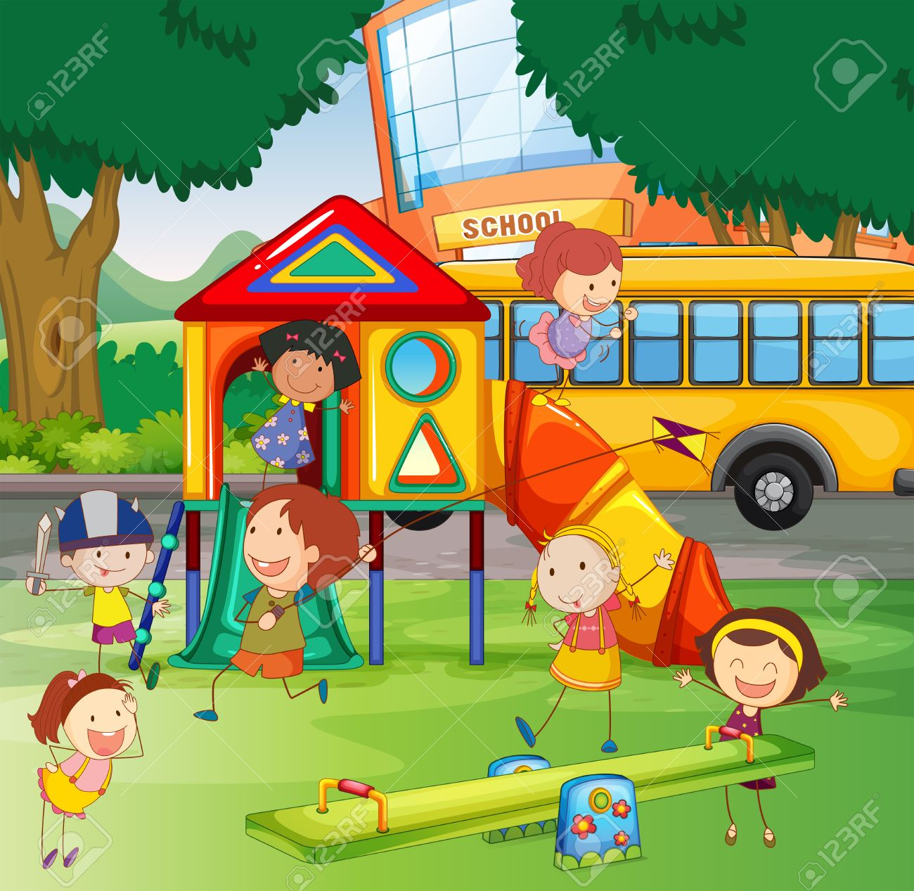Children playing in the school playground » Clipart Station.
