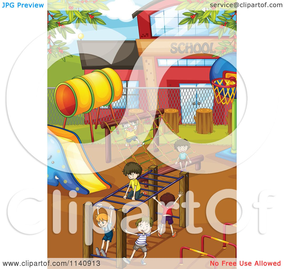 Cartoon Of Children Playing On A School Playground At Recess 5.