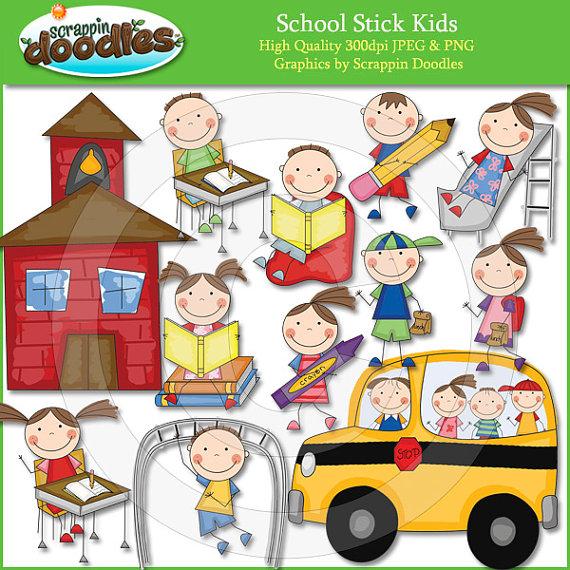 School Stick Kids Clip Art.