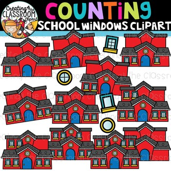 Counting School Windows Clipart {Back to School Clipart}.