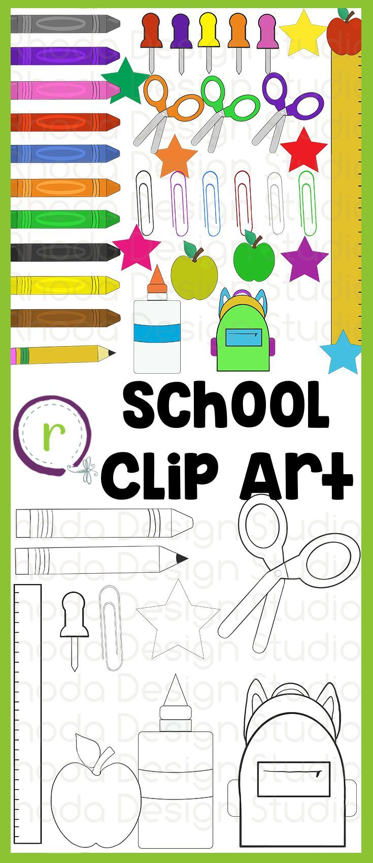 School Supplies Clip Art (RDS Clipart).