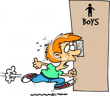 Schoolboy Hurrying to the Restroom.