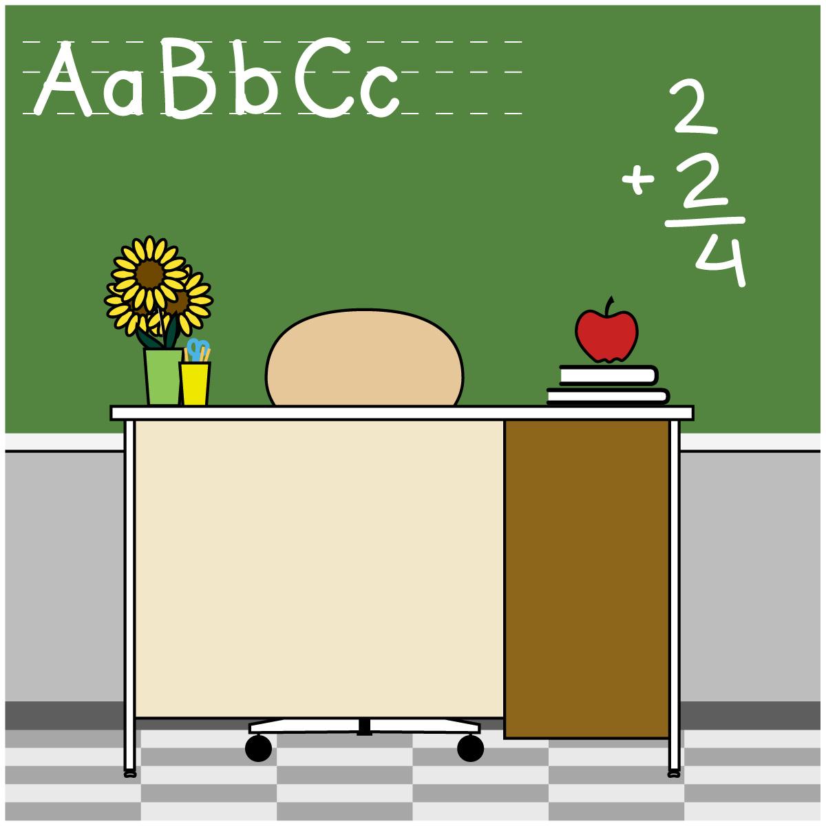 Teacher school desk clipart.